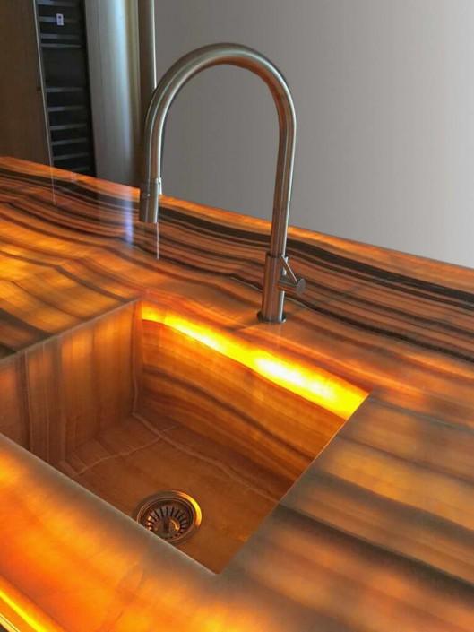 Backlit Tiger Onyx Kitchen
