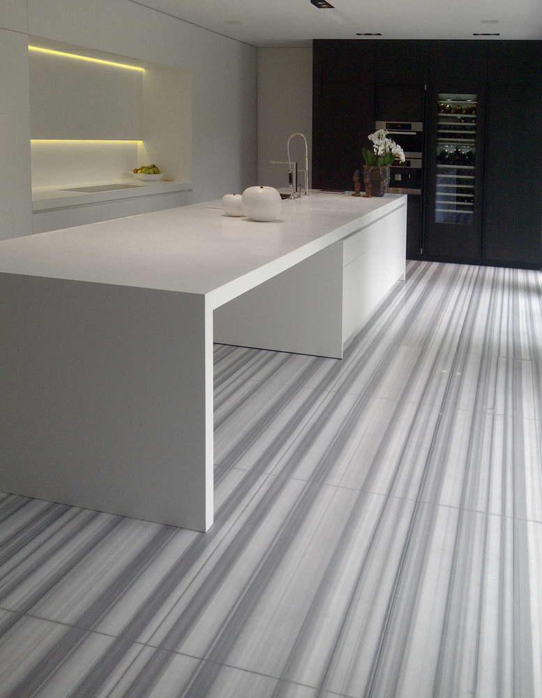 Floor In Striato Olimpico Marble Floors Modern Kitchen Floorin